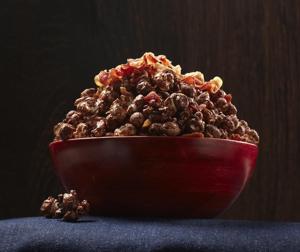 Spicy Dark Chocolate Bacon Popcorn | photoappetite