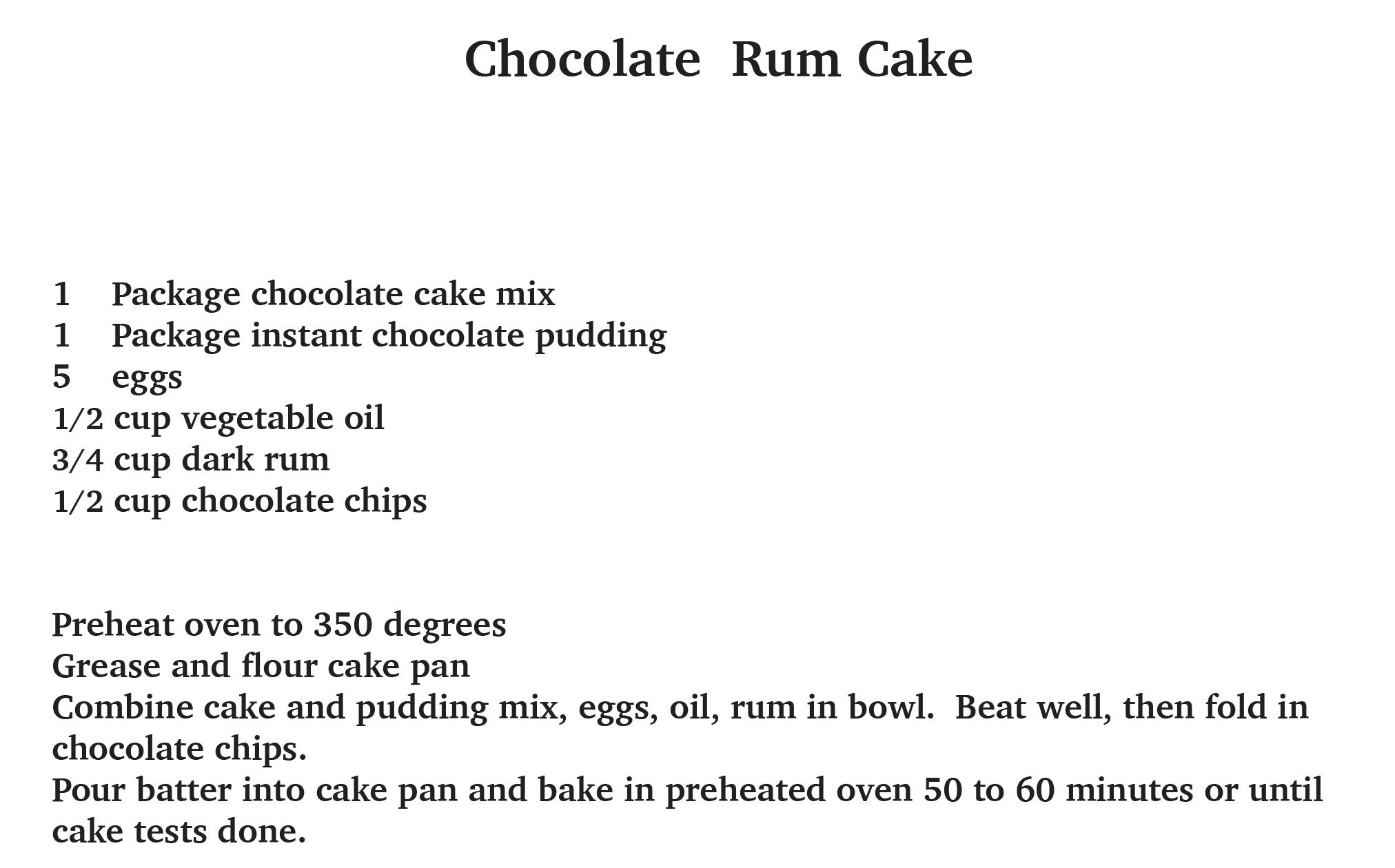 chocolate rum cakerecipe